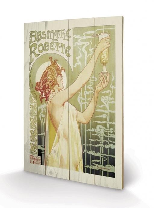 Absinthe Robette plakát fatáblán