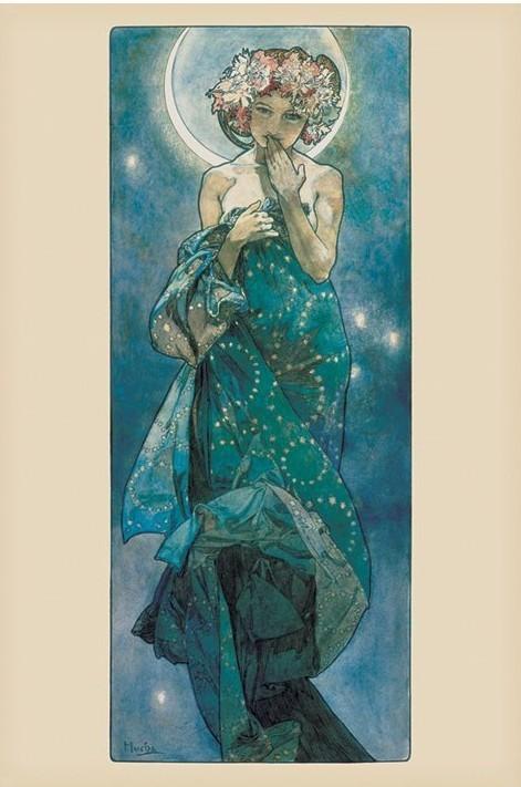 Alfons Mucha - moon Affiche