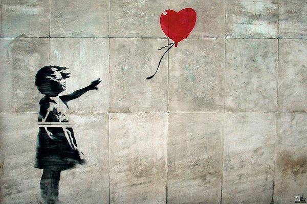 banksy street art hope poster affiche acheter le sur. Black Bedroom Furniture Sets. Home Design Ideas