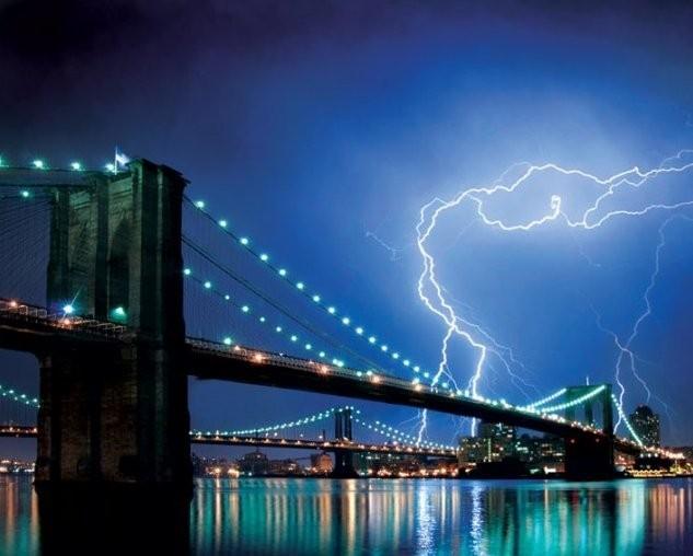 Brooklyn bridge - lighting Affiche