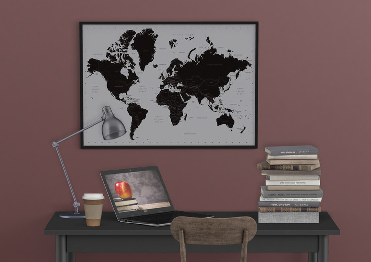carte du monde contemporain poster affiche acheter le sur. Black Bedroom Furniture Sets. Home Design Ideas