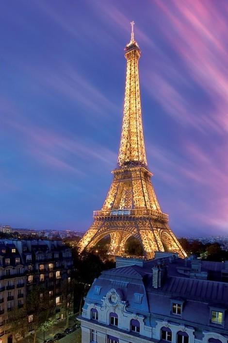 Eiffel tower - at dusk Affiche