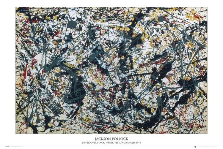 Jackson Pollock - silver on black Affiche