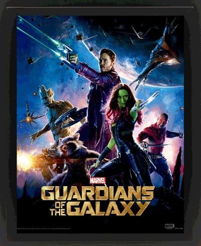 Les Gardiens de la Galaxie Poster en 3D encadré