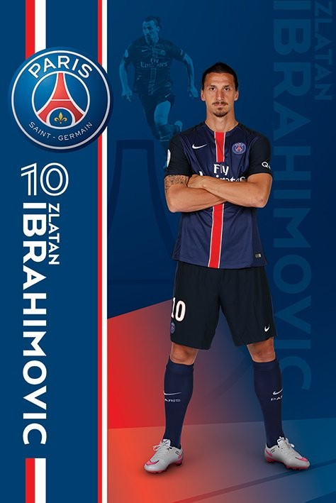 paris saint germain fc zlatan ibrahimovi poster affiche acheter le sur. Black Bedroom Furniture Sets. Home Design Ideas