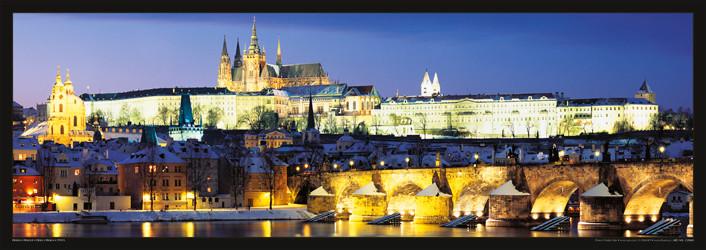 Prague – Prague castle & Charles bridge at night Affiche