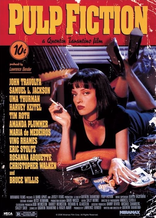 PULP FICTION - uma on the bed Affiche