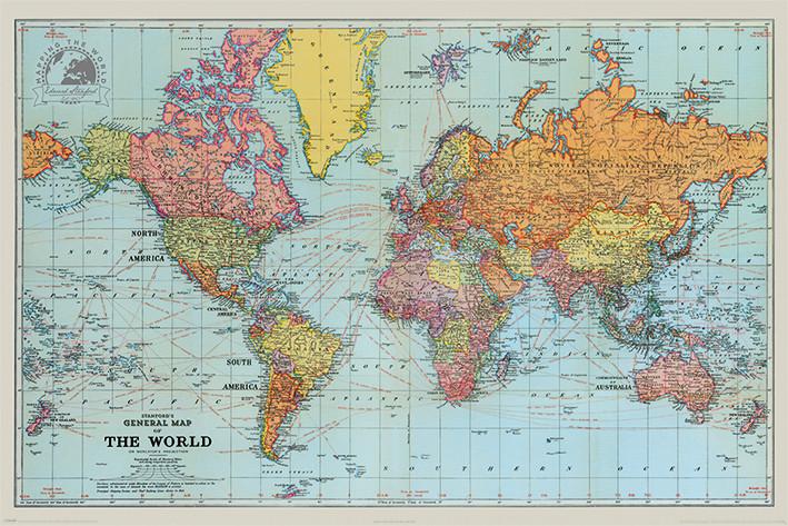 Stanfords Carte générale du monde Poster