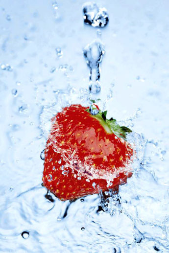 Strawberry on ice Poster