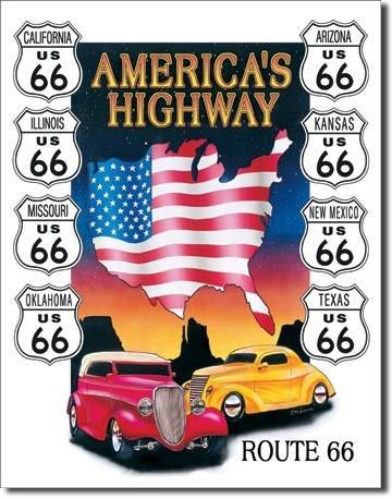 AMERICAS HIGHWAY Plaque métal décorée