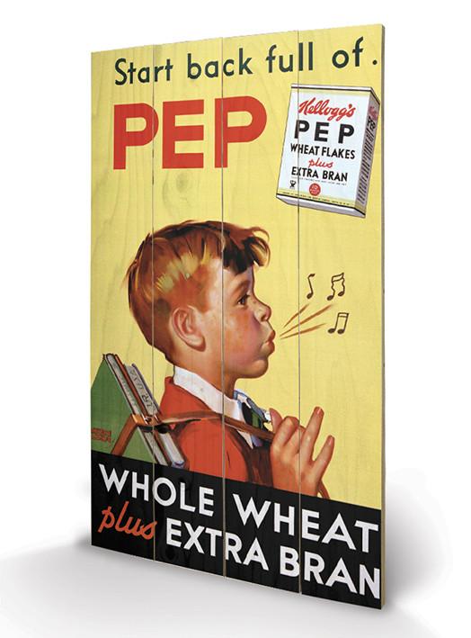 Cuadro de madera  Vintage Kelloggs - Start Back Full Of Pep
