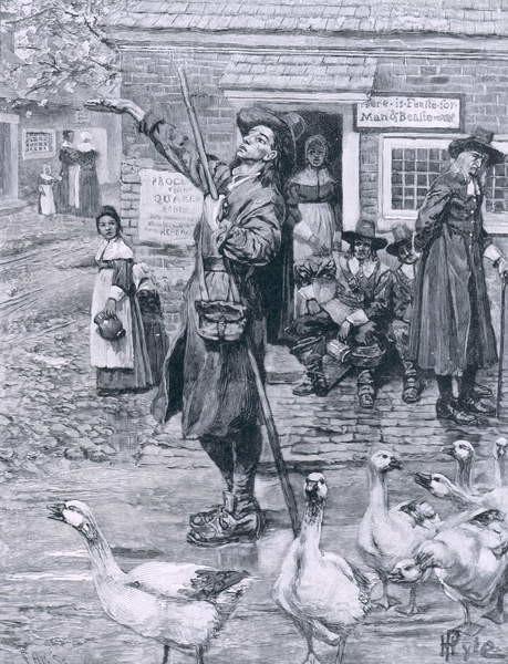 Reproducción de arte A Quaker Exhorter in New England, illustration from 'The Second Generation of Englishmen in America' by Thomas Wentworth Higginson, pub. in Harper's Magazine, 1883