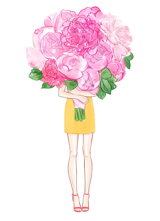 Illustration Girl and Peonies