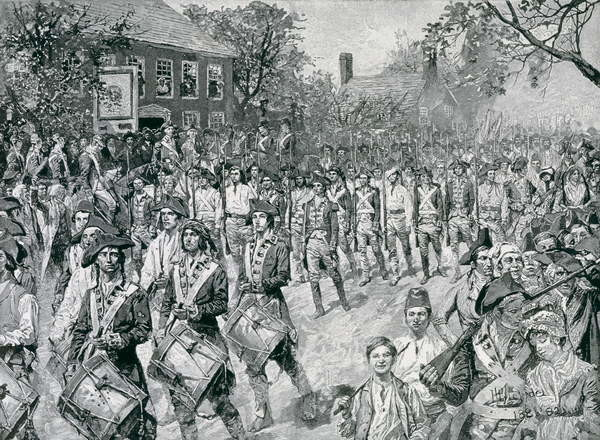 Reproducción de arte The Continental Army Marching Down the Old Bowery, New York, 25th November 1783, illustration from 'The Evacuation, 1783' by Eugene Lawrence, pub. in Harper's Weekly, 24th November 1883