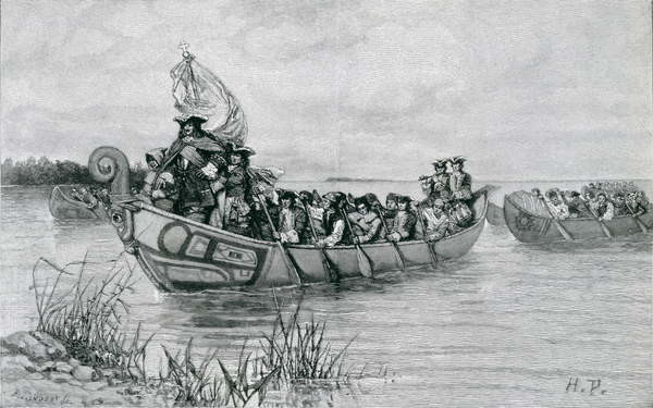 Reproducción de arte The Landing of Cadillac, illustration from 'The City of the Strait' by Edmund Kirke, pub. in Harper's Magazine, 1886