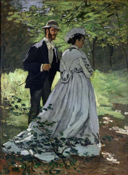 Reproducción de arte The Promenaders, or Claude Monet Bazille and Camille, 1865