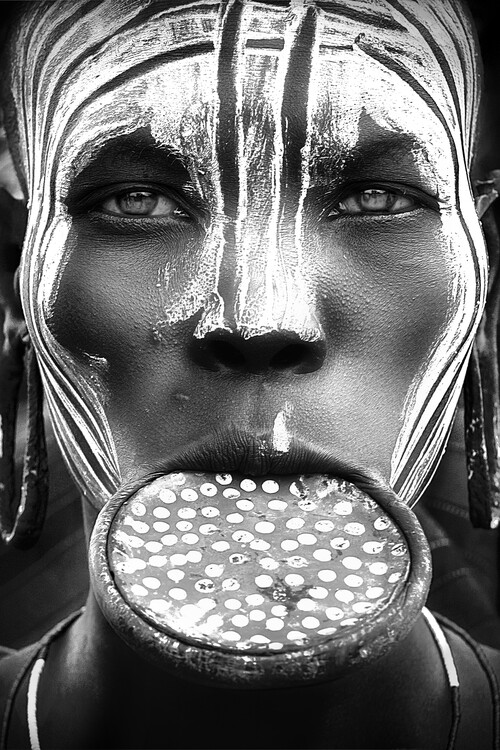 Arte fotográfico Tribal beauty - Ethiopia, Mursi people