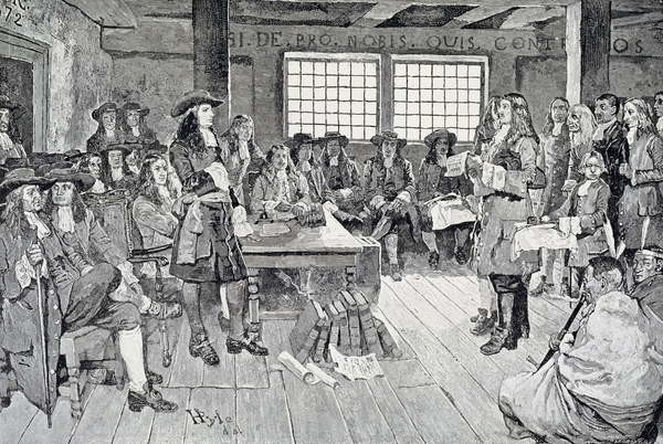 Reproducción de arte William Penn in Conference with the Colonists, illustration from 'The First Visit of William Penn to America' pub. in Harper's Weekly, 1883
