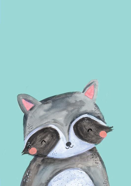 Ilustración Woodland racoon on mint