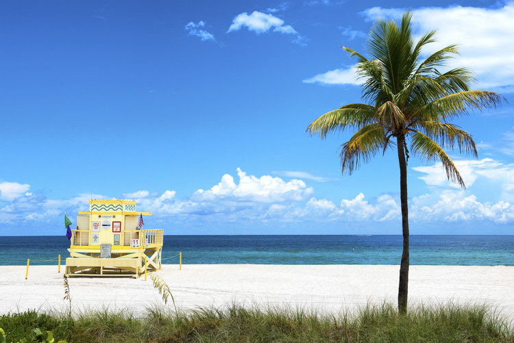 Arte fotográfico Yellow Life Guard Station - Miami