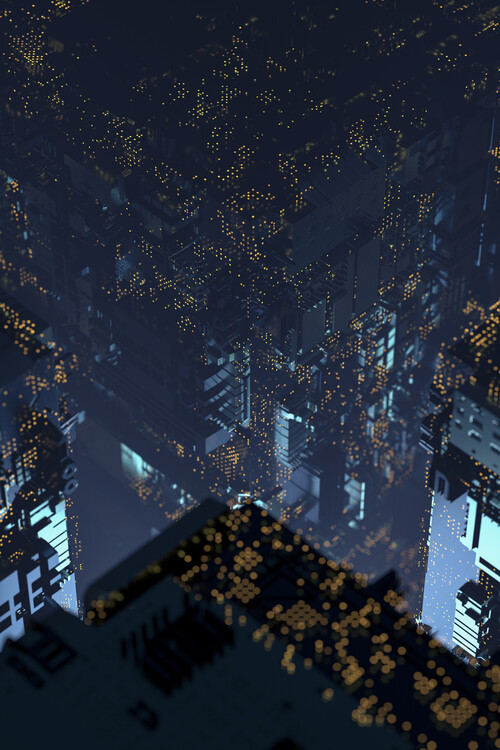 Umelecká fotografie A futuristic city with led lights series 2