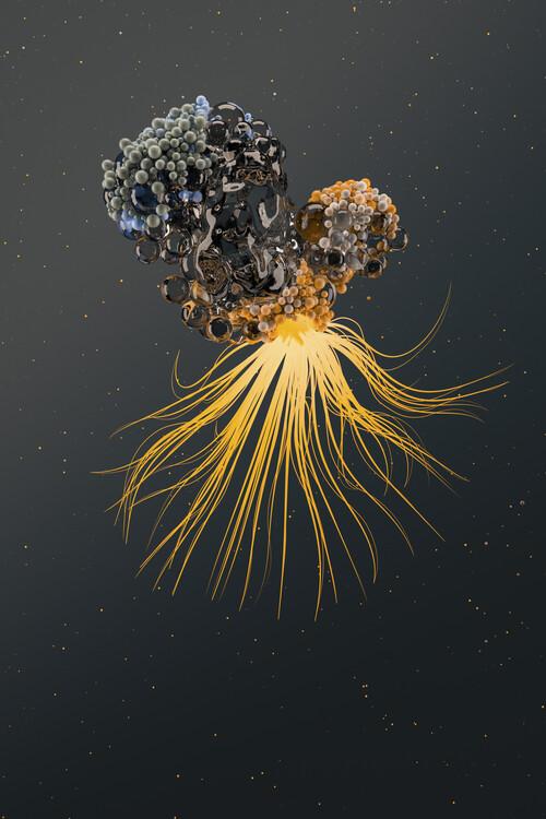 Umjetnička fotografija Abstract nanoparticles inside water series 3