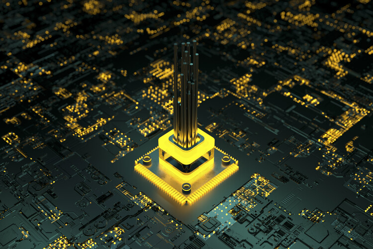 Művészeti fotózás Antenna inside yellow cpu series 2