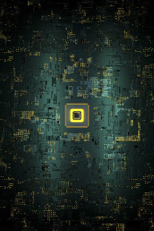 Umelecká fotografie Antenna inside yellow cpu series 6