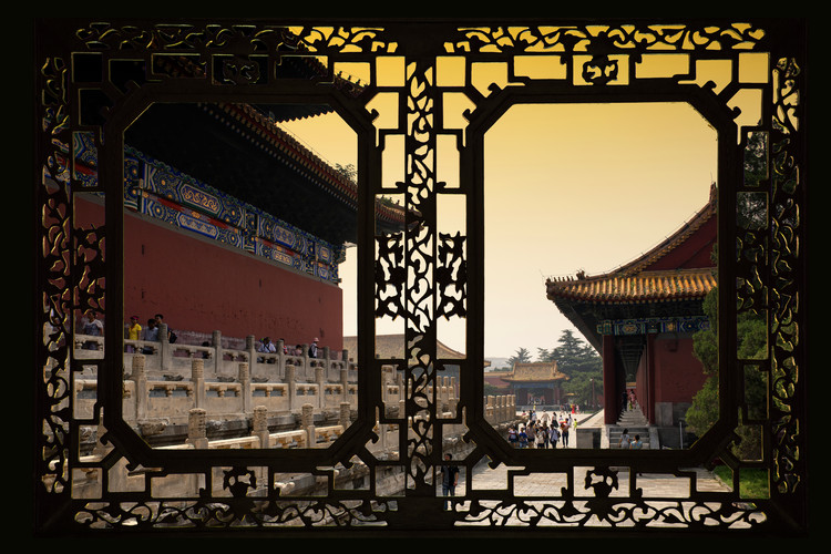 Umělecká fotografie Asian Window - Forbidden City at Sunset