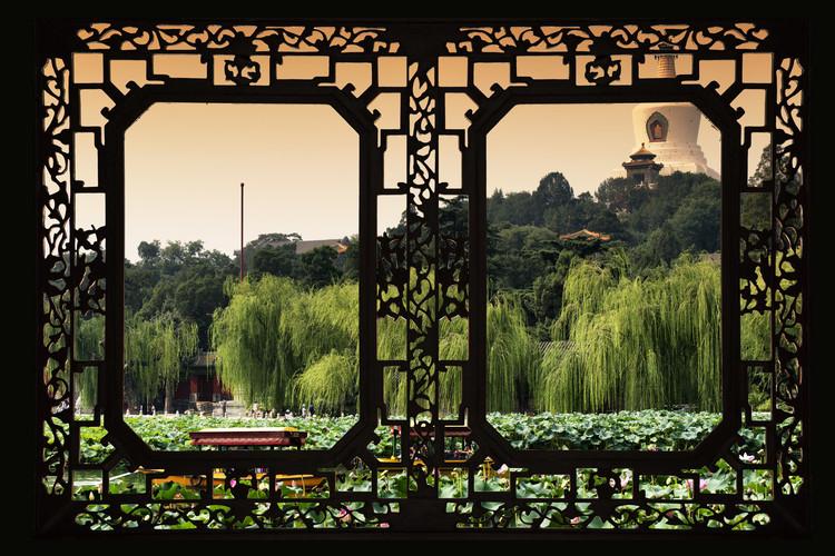Umělecká fotografie Asian Window - Lotus Flowers