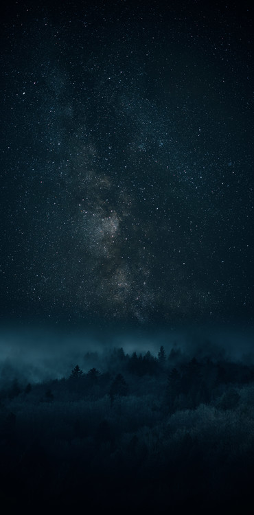 Umělecká fotografie Astrophotography picture of Bielsa landscape with milky way on the night sky.