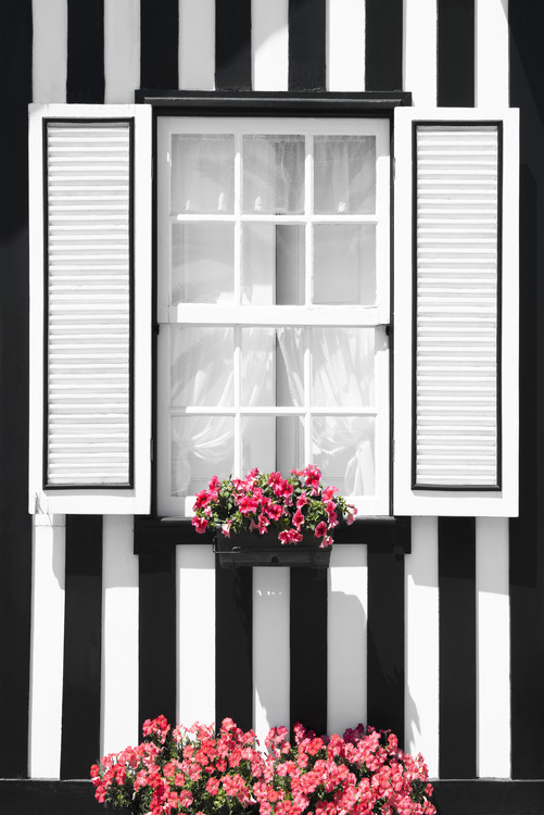 Umělecká fotografie Black and White Striped Window