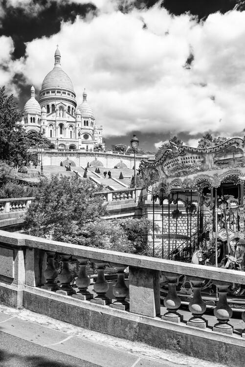 Konstfotografering Black Montmartre - Carousel Sacré-Coeur