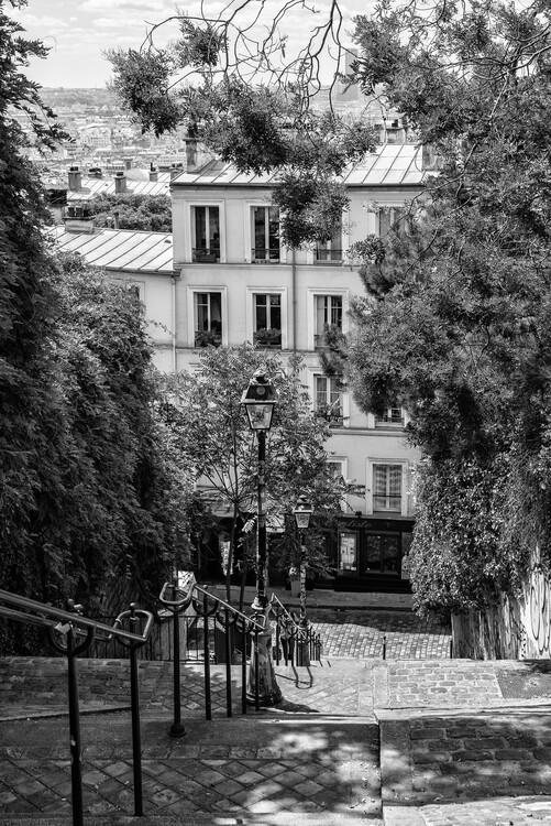 Konstfotografering Black Montmartre - Iconic Stairs