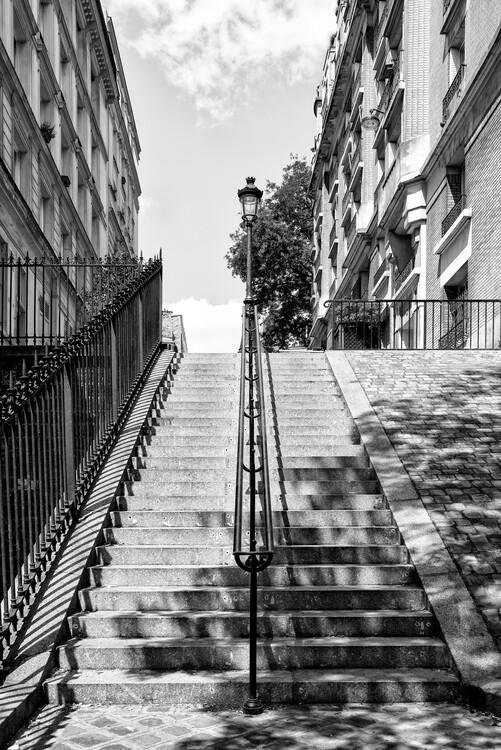 Konstfotografering Black Montmartre - Montmartre Staircases