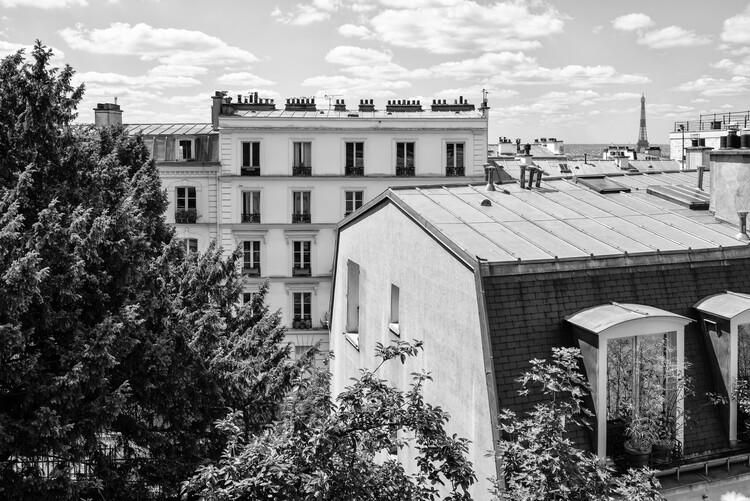 Konstfotografering Black Montmartre - View over the Rooftops of Paris