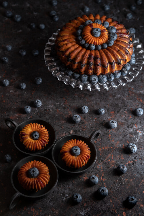 Photographie artistique Blueberry bundt cake