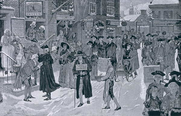 Reproducción de arte Christmas Morning in Old New York Before the Revolution, illustration from Harper's Weekly, pub. 25th December 1880