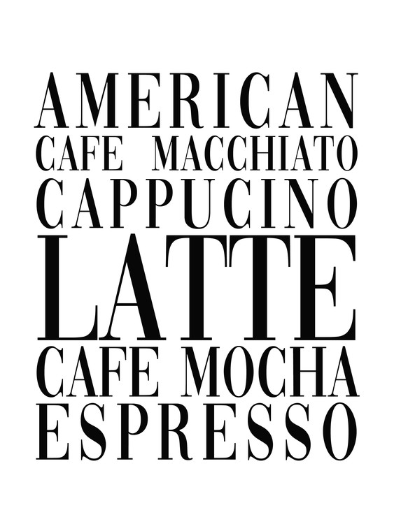 Arte fotográfico coffee list