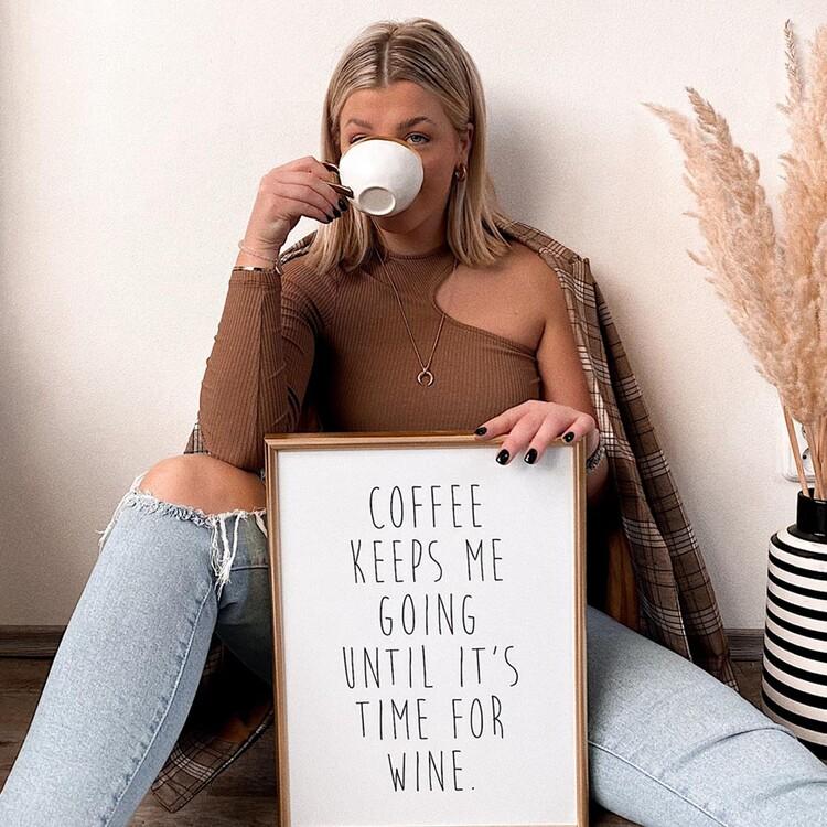Ilustracja coffeekeepsmegoinguntilitstimeforwine