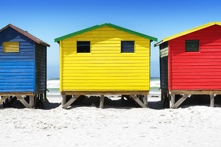 Arte fotográfico Colorful Beach Huts