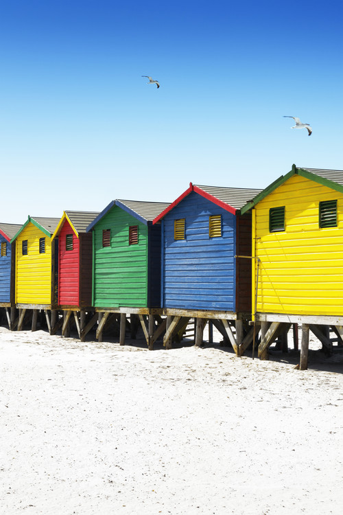 Umělecká fotografie  Colorful Beach Huts on Muizenberg