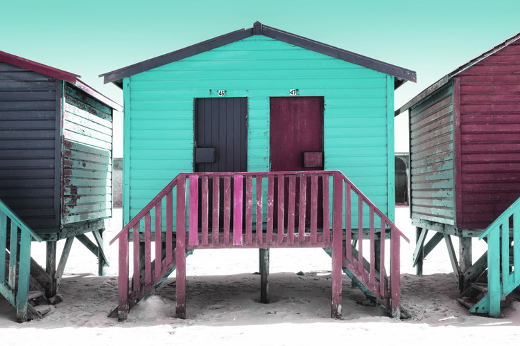 Arte fotográfico Colorful Houses Forty Six & Forty Seven Turquoise