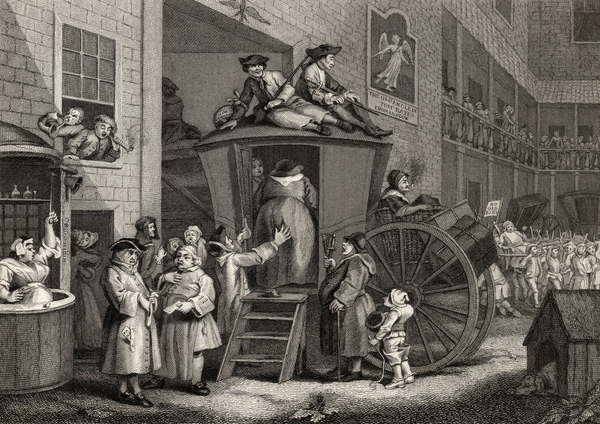 Reproducción de arte  Country Inn Yard, engraved by Timothy Engleheart (1803-79) from 'The Works of Hogarth', published 1833