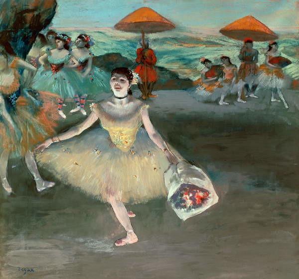 Dancer with bouquet, curtseying, 1877 Kunstdruck