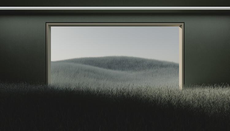 Umjetnička fotografija Dark room in the middle of green cereal field series  1