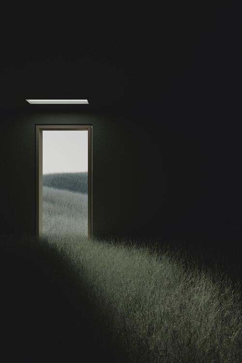 Umjetnička fotografija Dark room in the middle of green cereal field series  6