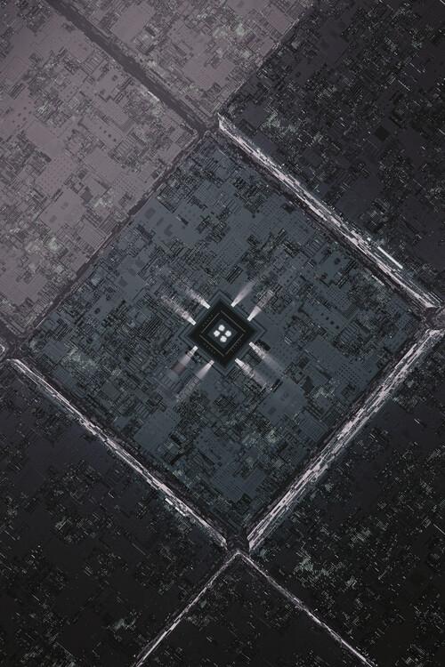 Umjetnička fotografija Detail of a futuristic grey atmosphere with a cpu series 7