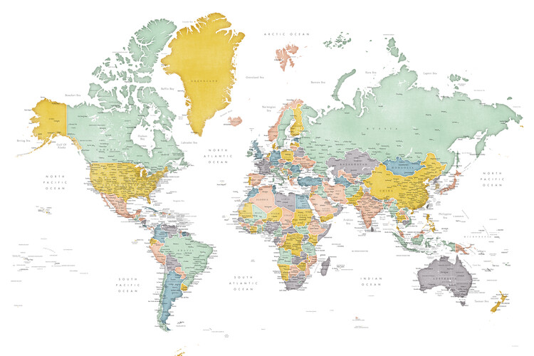 Mapa Detailed world map in mid-century colors, Patti
