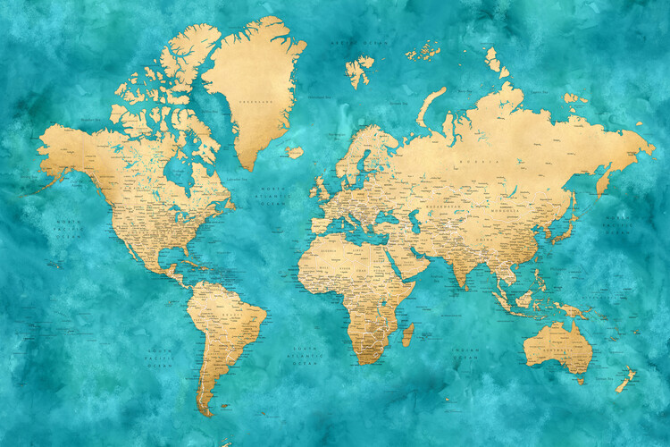 Mapa Detailed world map with cities in gold and teal watercolor, Lexy